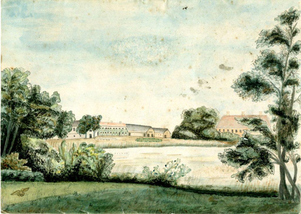 Herregården Pederstrup set fra søen. Maleri ca. 1820