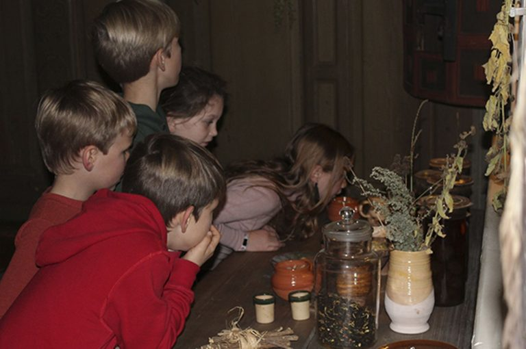 Børn bøjet over krukker med urter inde på museum obscurum